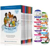 英文原版绘本 One Story A Day 365个英文故事天天故事会 赠12张音频CD 每天一个磨耳朵小故事 礼品盒装童书 晚安故事图画书