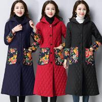 中长款棉衣秋冬民族风女装口袋长袖单排扣连帽中国风加厚