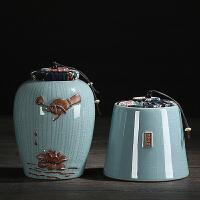 哥窑茶叶罐便携大小号陶瓷茶罐紫砂密封储存醒茶罐子