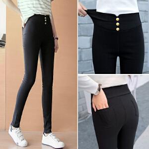 安妮纯女小脚裤外穿修身显瘦打底裤高腰大码女长裤子弹力黑色铅笔裤春季