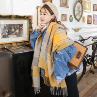 格子羊毛围巾女2018新款女冬季韩版英伦格子羊毛绒格子围巾披肩