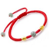 本命年18k黄金红绳脚链男士编织红绳转珠运脚链红绳女情侣款