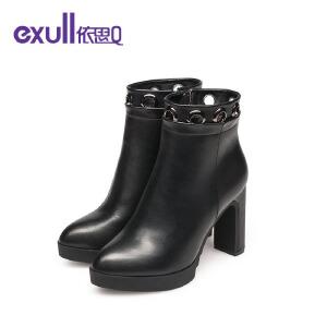 依思q冬季新款尖头粗跟高跟短靴时尚圆环侧拉链女靴