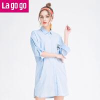 Lagogo春夏季新款印花纯色衬衫女宽松中长款纯棉上衣休闲外套女