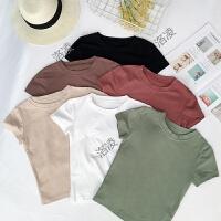 夏装女装韩版小清新圆领短款修身显瘦百搭上衣短袖学生打底衫T恤
