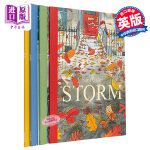 【中商原版】气候绘本4册 英文原版 Snow/Rain/Sun/Storm 儿童图画故事书 水彩画风 3-6岁 Sam