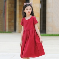 2019 女童短袖连衣裙夏季中大童棉麻公主裙新款 韩版裙子 酒红
