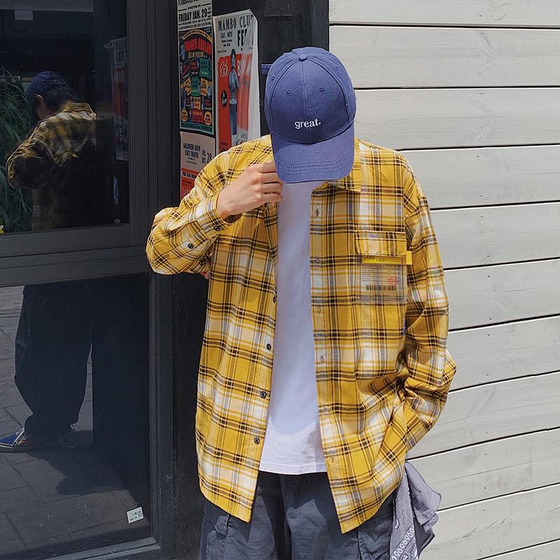 新款男长袖衬衫韩版潮流宽松格子休闲衬衣男装衣服寸衫外套