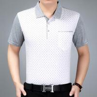 中年男装爸爸短袖T恤男夏中老年人polo衫夏装冰丝半袖衫夏天上衣