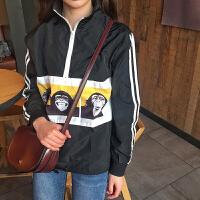 春秋女装韩版原宿风拼色卡通半高领休闲棒球服短款夹克上衣外套潮 均码