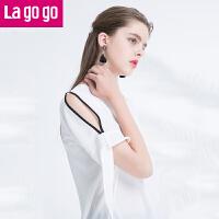 【618大促-每满100减50】Lagogo2017年夏季新款白色漏肩短袖雪纺衫T恤短袖宽松百搭上衣女