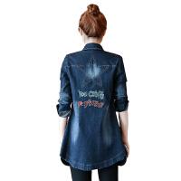 2018春装新款牛仔外套女韩版刺绣五角星修身显瘦中长款牛仔风衣