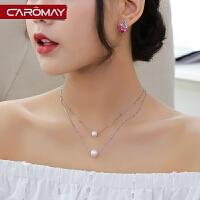 饰品气质s925银人造珍珠双层锁骨链女 韩版简约短项链