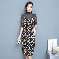 两件套连衣裙女春季新款套装裙韩版时尚碎花打底裙中长款吊带
