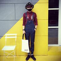 新款牛仔裤男韩版修身学生连体工装裤日系风吊带背带哈伦裤