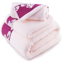 三利 纯棉缎档图腾纹样 方巾毛巾浴巾三件套 礼盒装