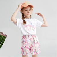 木木屋儿童套装两件套2021新款女童可爱洋气韩版蝴蝶结短裤短袖