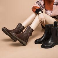 玛菲玛图秋冬真皮女短靴欧美风低跟女靴复古百搭休闲马丁靴骑士靴1718-4TW