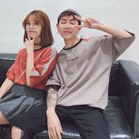 情侣装夏装男女生日系韩版圆领短袖T恤学生休闲半袖衫宽松上
