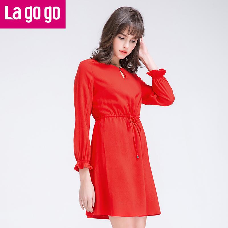 【两件5折后价144.5】Lagogo拉谷谷2017春装新款红色圆领系带显瘦连衣裙长袖女士裙子!