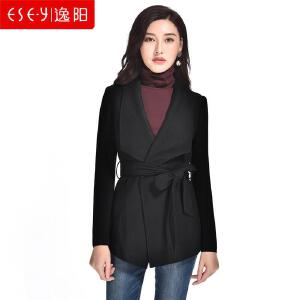 逸阳2018秋季新款时尚羊毛修身中长款收腰系带毛呢子外套针织上衣S4Q570773