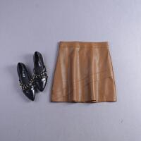 J#30秋冬季新高腰纯色气质后拉链PU皮包臀半身裙短裙