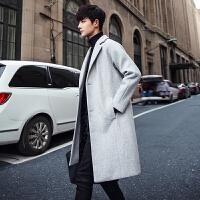 风衣男中长款秋冬季新款韩版帅气宽松bf外套潮牌学生呢子大衣