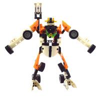 回力积木车拼装车儿童益智积木玩具车男孩越野摩托车模型