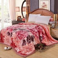 拉舍尔毛毯双层加厚秋冬季大红盖毯 单双人12斤珊瑚绒毯子结婚庆 220cmx240(12斤重)