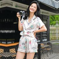 睡衣女夏季丝绸短袖两件套装薄款韩版宽松性感情侣家居服夏天冰丝 亮肤色 冰激凌