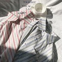春季2018港风小清新条纹男士休闲长袖衬衫男长袖衬衣