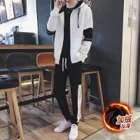 冬季加绒加厚长袖开衫卫衣男修身连帽运动套装学生韩版潮流两件套