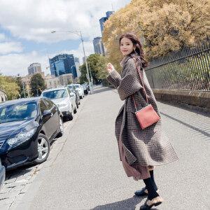 【超级品牌日!下单立减100!】千鸟格毛呢外套女2018新款秋冬季中长款韩版学生过膝森系呢子大衣