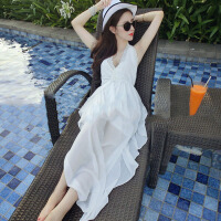 夏季性感挂脖雪纺连衣裙女海边度假沙滩裙显瘦深V吊带露背长裙子