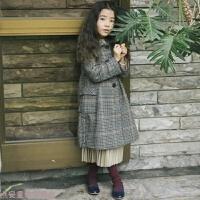 冬季女童毛呢外套中长款秋冬韩版复古儿童大衣大童格子风衣12-15岁潮秋冬新款 图片色