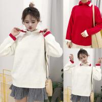 冬季韩版女装大码200斤胖mm学院风polo领撞色宽松甜美针织衫毛衣