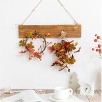 屋内装饰品创意墙上壁挂植物 个性卧室墙面枫叶仿真花艺