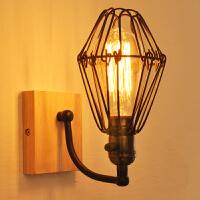 幽咸家居卧室床头灯 玻璃实木壁灯 实木壁灯过道阳台北欧原木风格卧室床头简约YX-LMD2105
