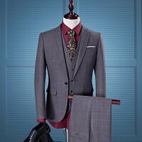 四季男士格子西服套装韩版商务正装三件套大码结婚礼服潮男装外套