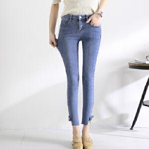 【超级品牌日!下单立减100!】实拍新款韩版不规则高腰牛仔裤女宽松个性裤脚显瘦九分裤
