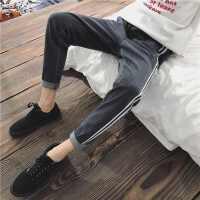 男士牛仔裤春季2018新款青少年条纹韩版潮流学生百搭加厚直筒男裤