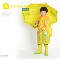 新款韩国大童卡通儿童雨衣雨伞雨鞋套装男童女童雨衣