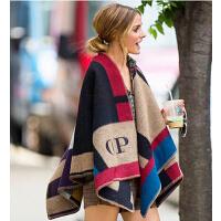 冬季羊毛大披肩女士 欧美英伦仿羊绒色块披肩外套斗篷围巾两用加厚