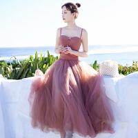 显瘦吊带网纱连衣裙女夏季马尔代夫海南三亚海边度假沙滩长裙