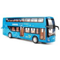 1:48真人语音儿童玩具车公交车模型大号快乐双层巴士合金车模