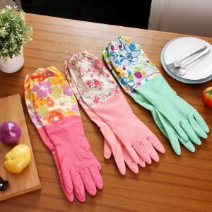 【满减】欧润哲 厨房长款防水加绒定制手套 女士洗碗乳胶家用洗衣服厨房家务用防滑松紧袖口