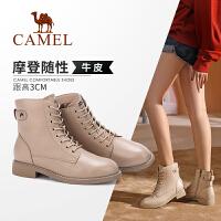 骆驼女鞋2019冬季新款加绒系带真皮马丁靴女英伦风保暖平底短靴女
