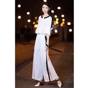 哆哆何伊2018春装新款女装韩版雪纺上衣时髦阔腿裤两件套时髦洋气套装女春