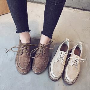 小皮鞋女单鞋女小白鞋女复古英伦风女鞋圆头系带单鞋百搭学生韩版原宿休闲鞋子女311MM