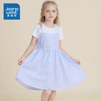 [秒杀价:76.9元,超级秒杀日仅限3.28-30]真维斯女童夏装 色织条子假两件连衣裙